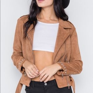 Jackets & Blazers - Camel Studded Embroidery Faux Suede Moto Jacket